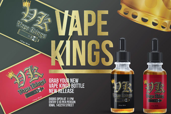 Create an e vape e juice liquid bottle label design with your brand