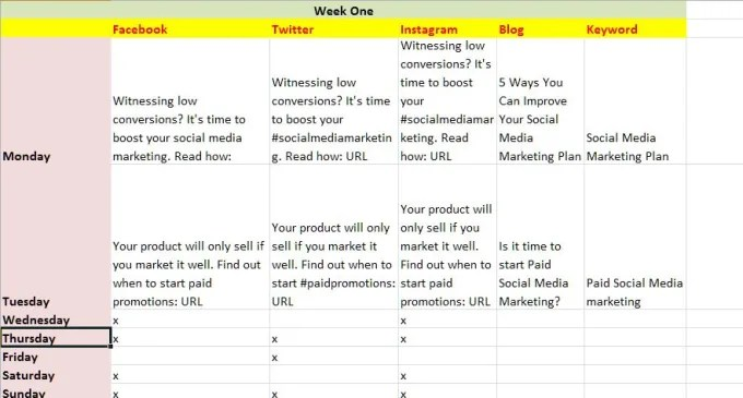 Create 4week content marketing plan for blog, facebook, twitter