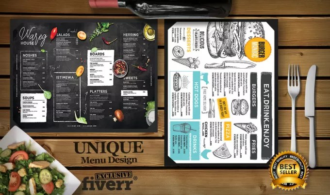Do your elegant restaurant menu design unique and creative by