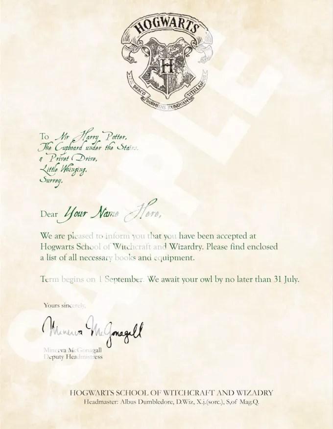 Make you a custom harry potter hogwarts acceptance letter by Designs_at