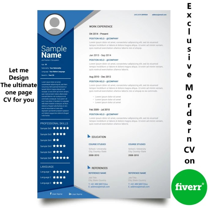 Make professional one page cv by Chinmoydhar