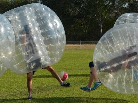 image of bubble soccer illustrating how influencer product testing bursts your bias bubble