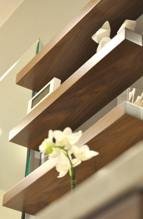 Medium Of Wood Shelves For Bathroom