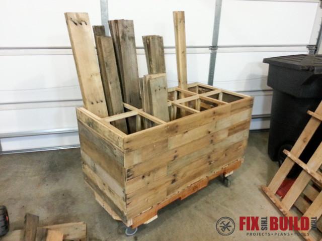 Diy Pallet Wood Storage Rack Fixthisbuildthat