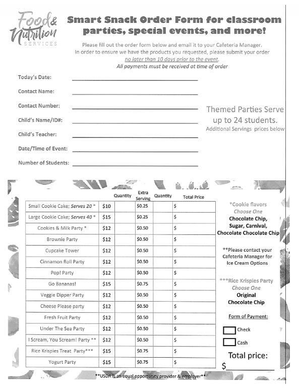 Food and Nutrition Party Packs / Classroom Party Order Form