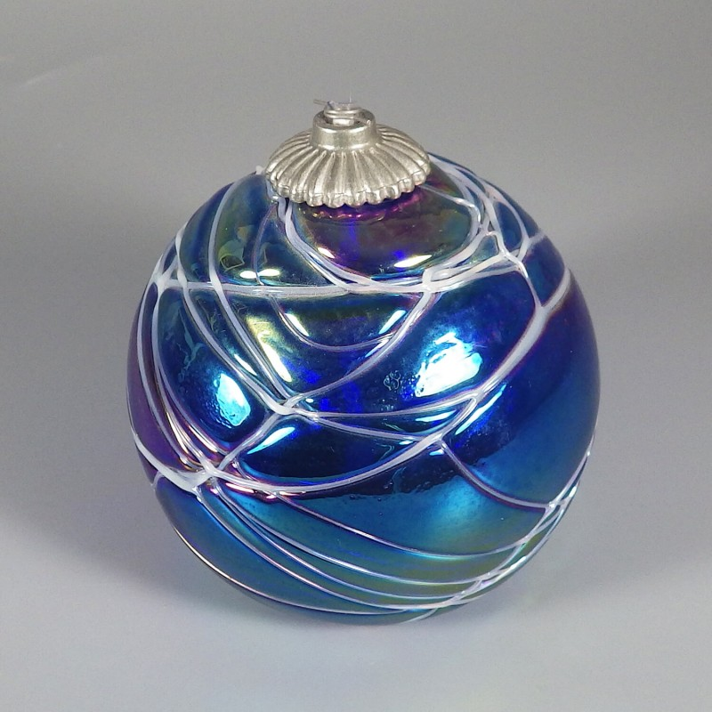 Vintage Hand Blown Glass Ball Oil Lamp Intaglio Art Glass - Hand Blown Glass Lamp