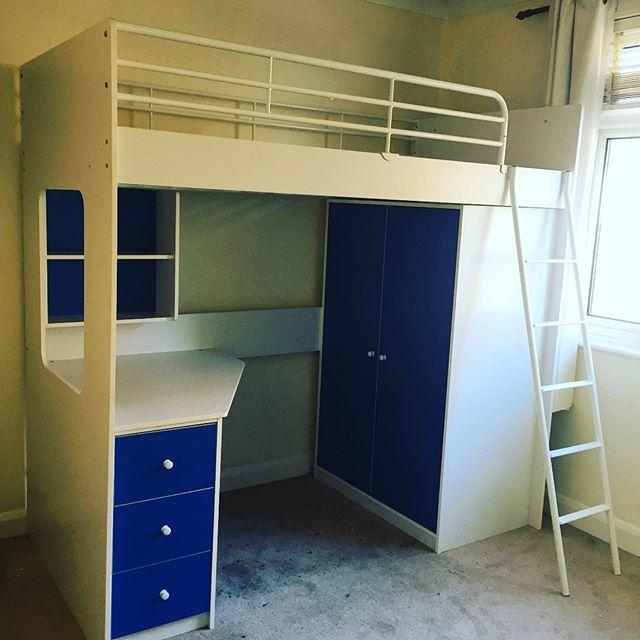 Ikea Home Office Furniture High Sleeper Bed With Desk And Wardrobe Assembly, Worthing