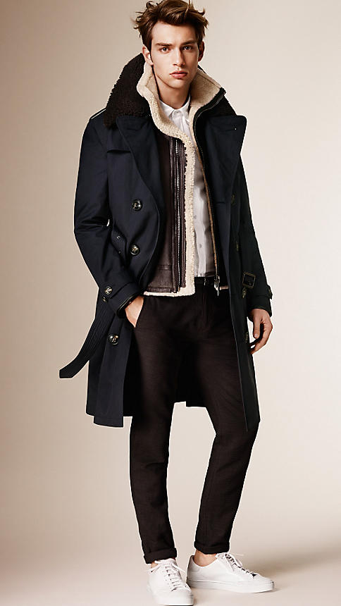 Burberry Men's Cotton Blend Trench Coat With Shearling Warmer 5