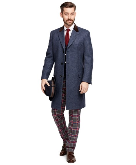 Brooks Brothers Men's Own Make Blue Wool Topcoat