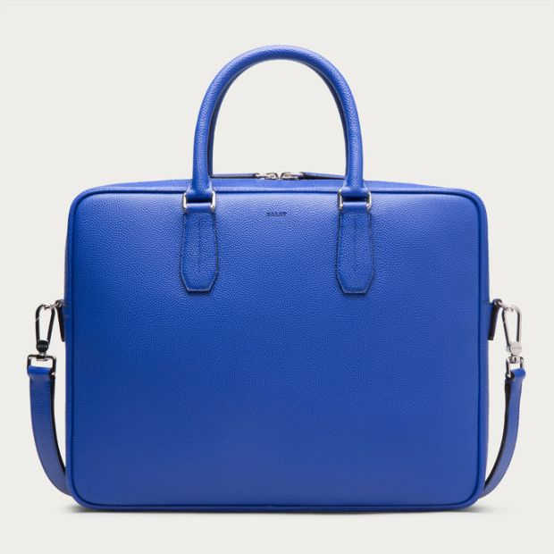 Bally Men's Nikkos True Blue Calf Leather Business Bag