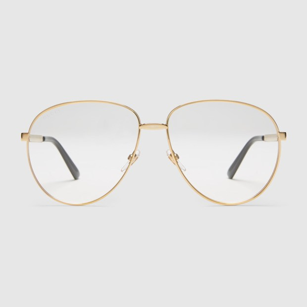 Gucci Men Aviator Transparent Lens Sunglasses