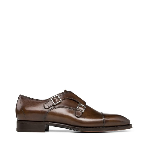 Santoni Double-Buckle Leather Shoes