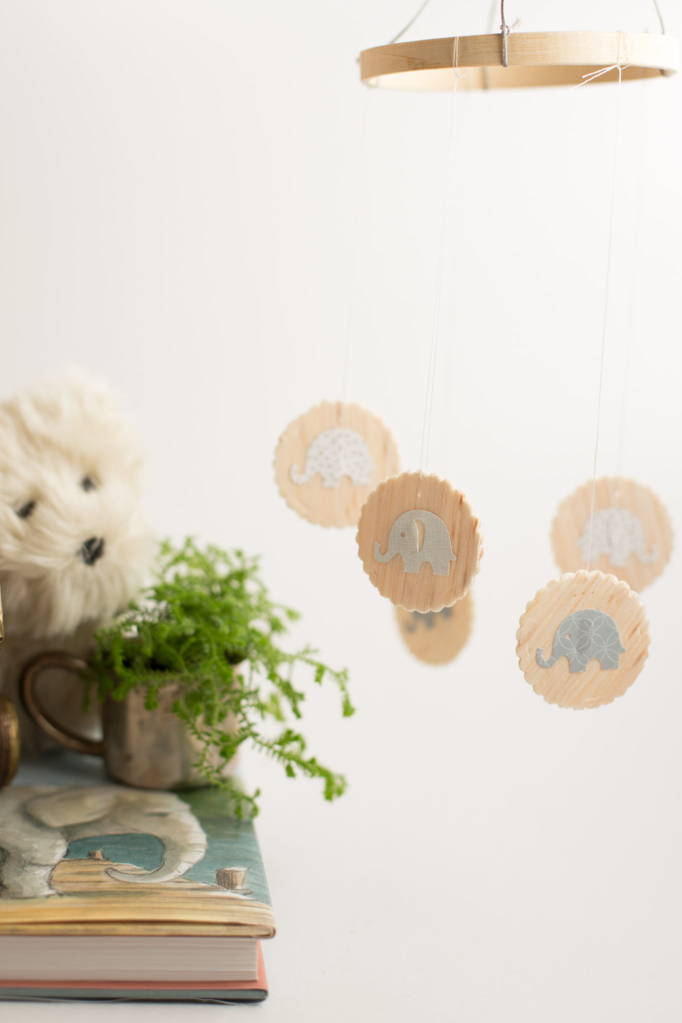 Wooden Baby Mobile Diy Wood Baby Mobile With Elephants Flax And Twine