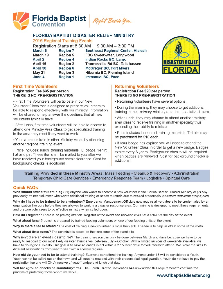 Disaster Relief Training - West Florida Florida Baptist - disaster relief flyer