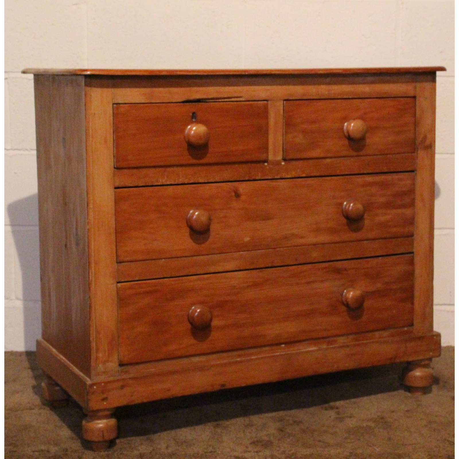 Victorian Pine Chest Of Drawers A Victorian Stripped Pine Two Over Two Chest Of Drawers Turned Feet