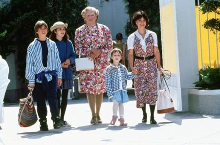 Mrs. Doubtfire is not your normal nanny in Mrs. Doubtfire (1993)