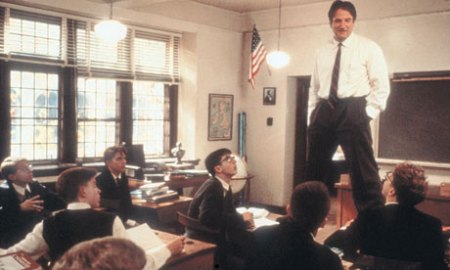 John Keating (Robin Williams) inspires and surprises his students in Good Will Hunting (1989)