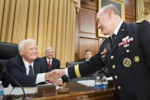 General Martin E. Dempsey, the Chairman, Joint Chiefs of Staff, greets Congressman Bill Young on April 16. Defense Department photo.