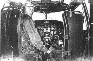 Pilot Max B. Olson in the cockpit of a C-119 in June 1956. (Courtesy of Olson family)