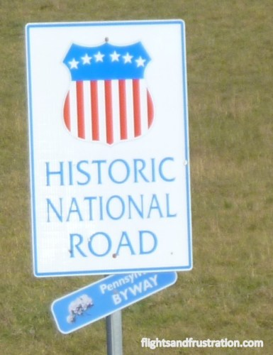 This is a historic National Road marking the history of toll roads in PA