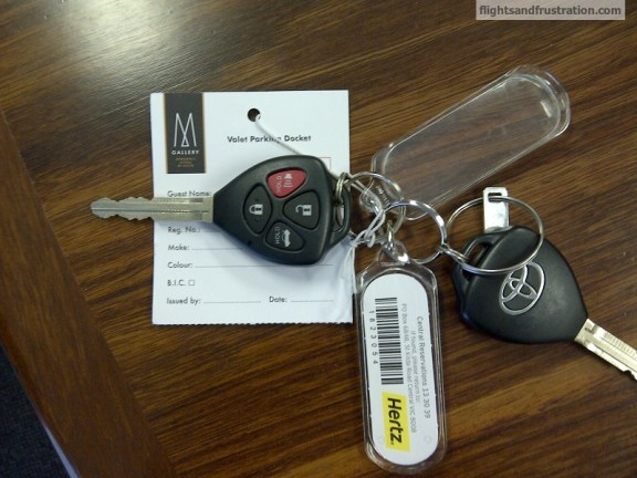 Car keys and hotel valet parking tickets
