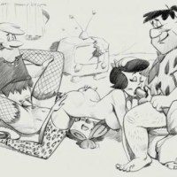Flinstones and their neighbours in one big sex orgy!