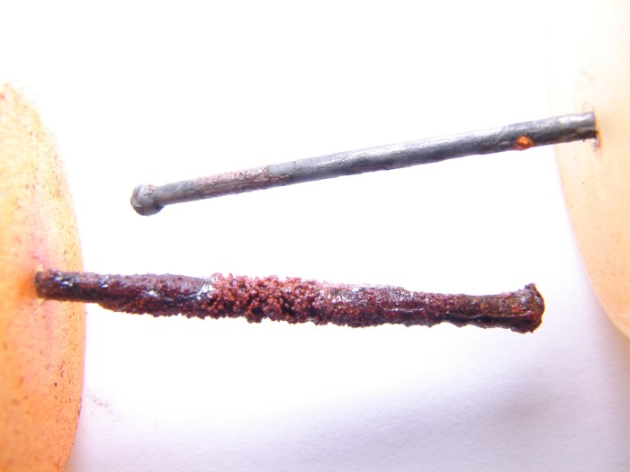 Figure 1. Illustrative photograph of a nail after 1 month exposure to Detroit water (above) and Flint River water with no inhibitor (below). Each nail was rinsed in flowing water before taking the picture.