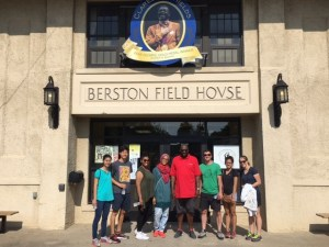 "Students outside the historic Bertson Field House with Mr. Bryant ""BB"" Nolden."