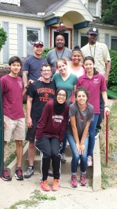 Students outside of Mrs. Patty Warner's house after sampling and a quick coffee break.