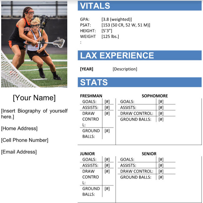 LAX Resume Template \u2013 LAX 4 LIFE - recruiting resume