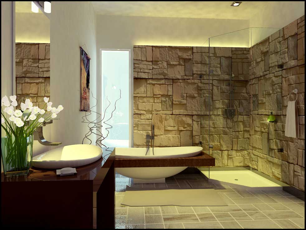 Decorate Your Bathroom With Stones Home Designs Project