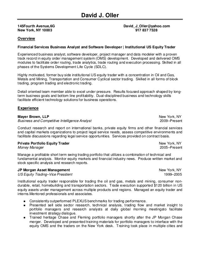 Buy Side Equity Trader Resume College Papers To Buysample traders ...