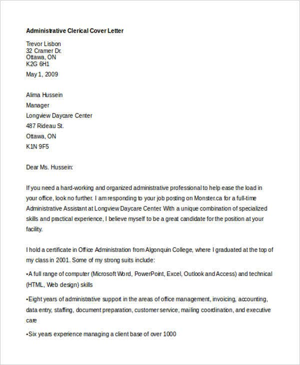 Cover letter for medical records clerk with no experience write