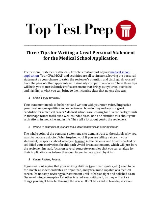 How should i write my personal statement for medical school