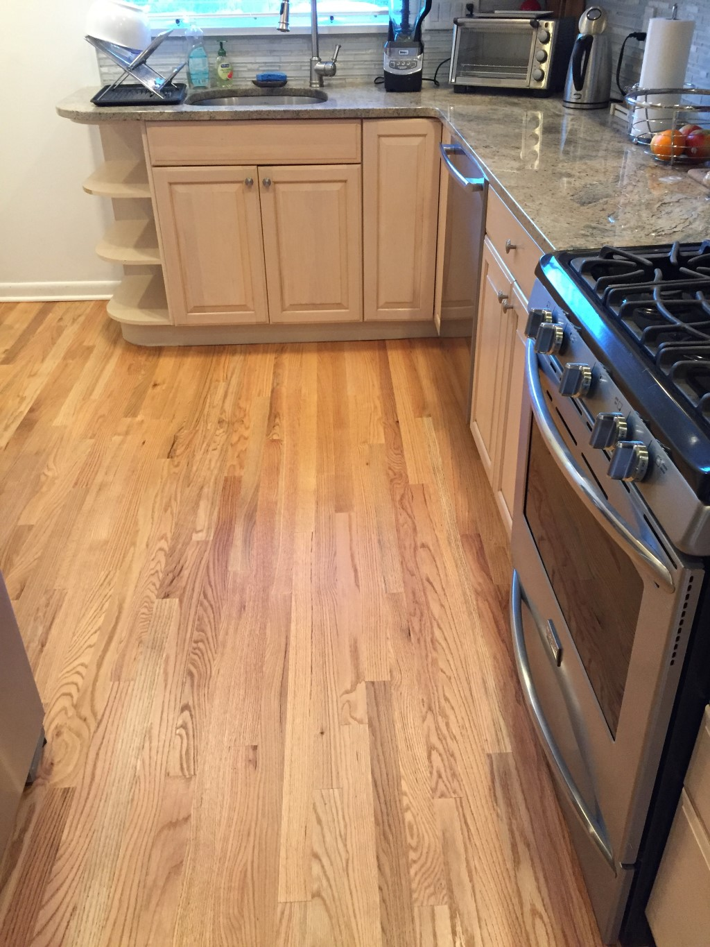 Kitchen Cabinets Red Oak Floors Kitchen Unfinished Red Oak Planks Replace Gray Tiles Floor Town