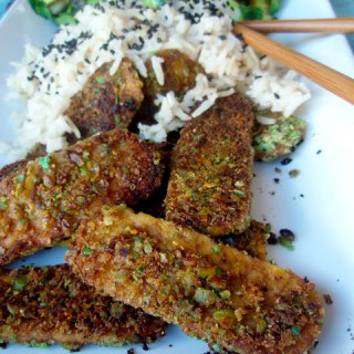 Wasabi Pea Crusted Tempeh & Ginger-Lemongrass Rice