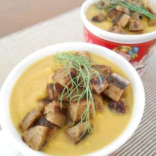 Roasted Butternut Squash & Fennel Soup w/ Crispy Apple-Sage Sausage