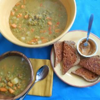 Split Pea Soup w/ Buttery Chipotle Crostini