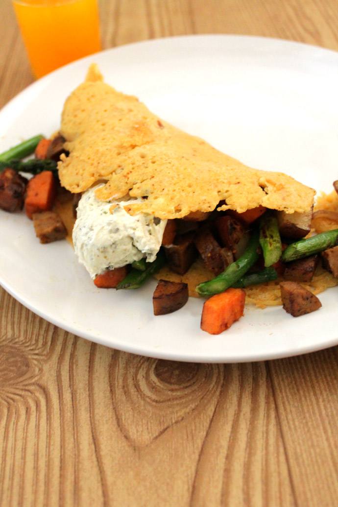 vegan vegetable chickpea flour omelette