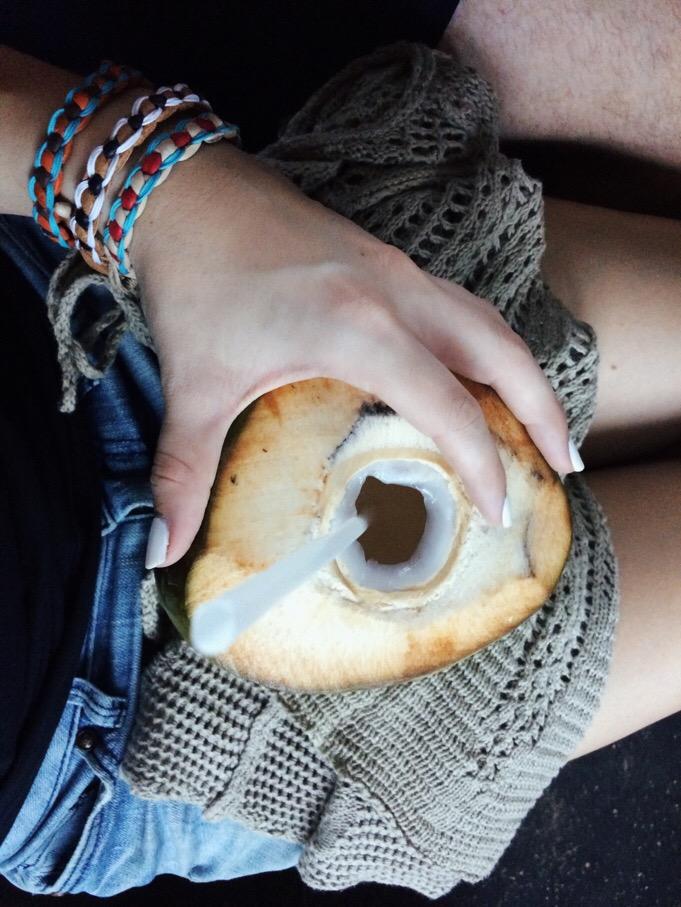 fresh coconut + souvenir bracelets