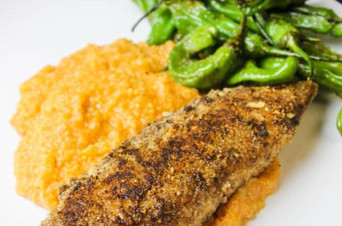Pumpkin Parmesan Polenta + Pecan-Pepita Crusted Fish