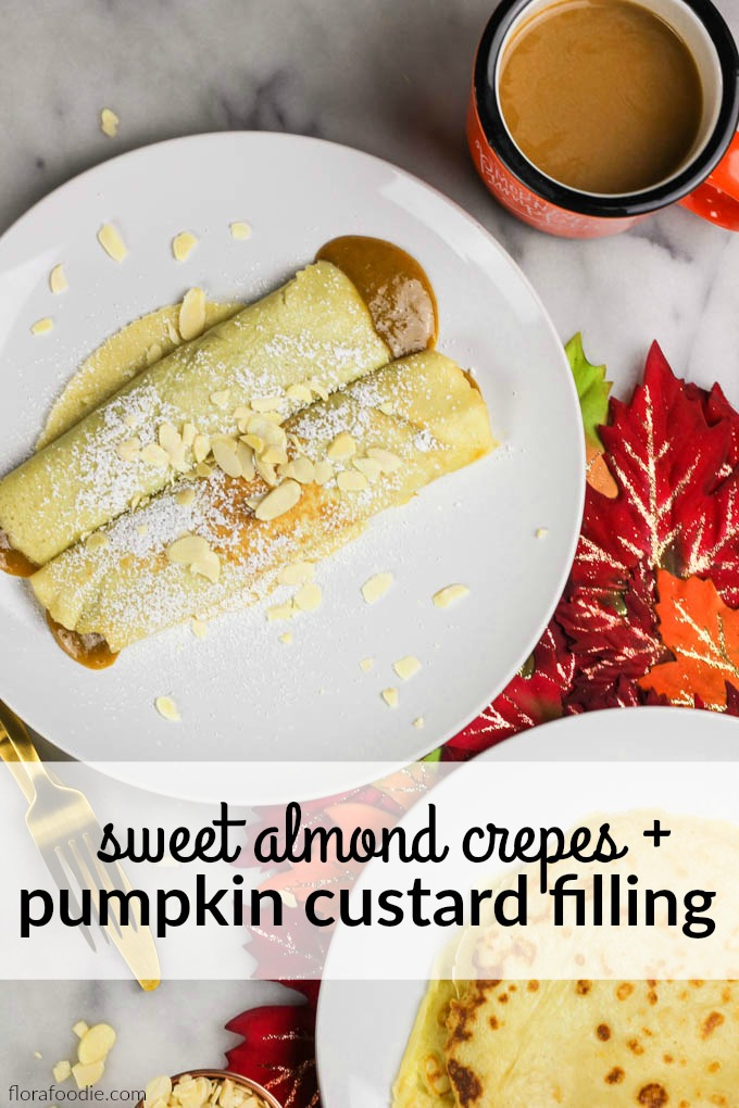 Sweet Almond Crepes + Pumpkin Custard Filling