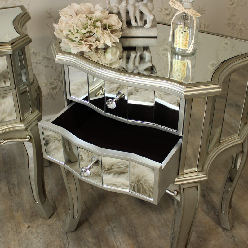Wall Mirror Vintage Style Pair Of Mirrored 2 Drawer Bedside Tables Flora Furniture