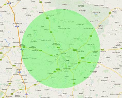 We have our own experienced delivery drivers covering the York area and surrounding villages to an approximate 10 mile radius.