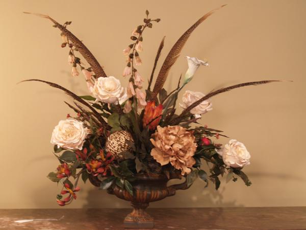 Elegant Pheasant Feathers - Roses Silk Floral Arrangement AR214 - silk arrangements for home decor