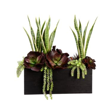 Tall Burgundy and Green Faux Succulent Arrangement in Bamboo - silk arrangements for home decor