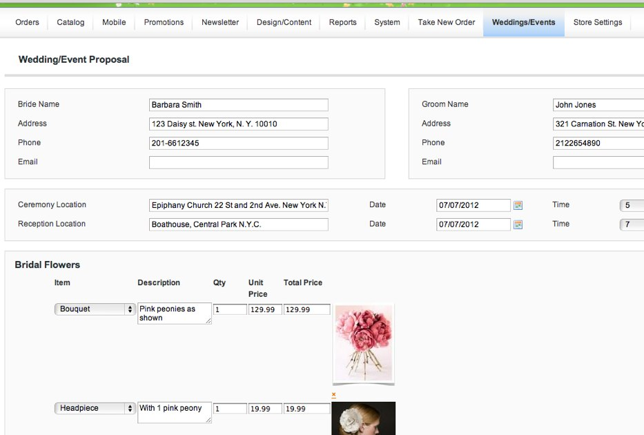 Free Wedding/Event Proposal Manager Floranext - Florist Websites - proposal for event