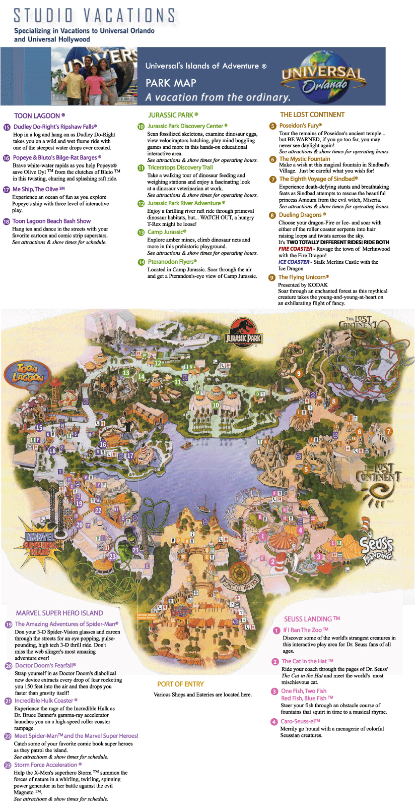 Universal Studios Islands Of Adventure Park Map