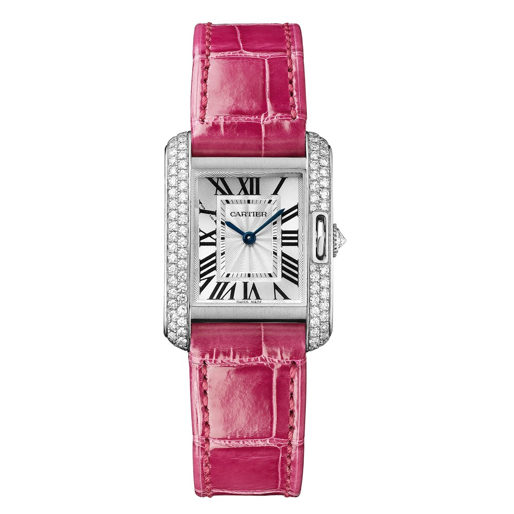 Cartier Watches Cartier Watches Tank Anglaise White Gold With Diamonds Alligator Strap