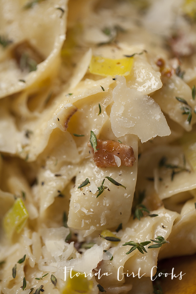 creamy pappardelle with leeks and bacon, weeknight dinner, pasta ...